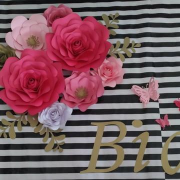 8 Flores Gigante De Papel 30 c m 25 cm 20 cm 15 cm e folhas