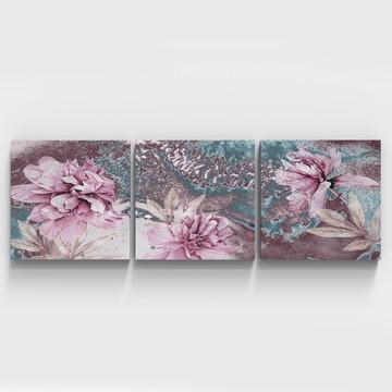 Conjunto 3 Quadros Flores Rosas Botanico Sala Quarto Tri074