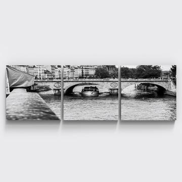 Conjunto 3 Quadros Preto Branco Ponte Neuf Paris Hall Tri078
