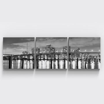 Conjunto 3 Quadros Preto Branco Cidade Miami Paisagem Tri085