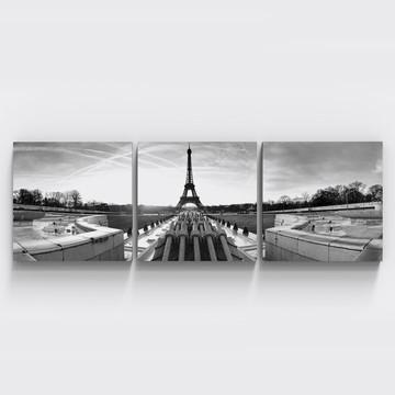 Conjunto 3 Quadros Paris Preto Branco Torre Eiffel Tri088