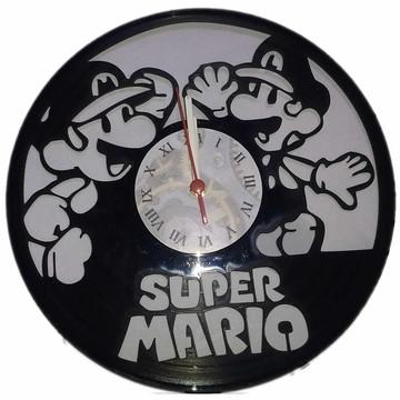 Relógio em disco de Vinil - Super Mario