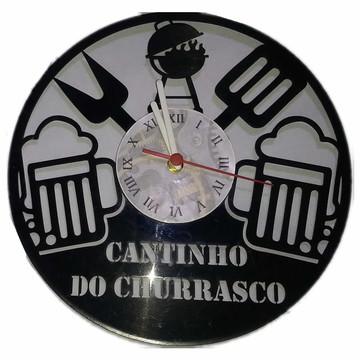 Relógio em disco de Vinil - Cantinho do Churrasco
