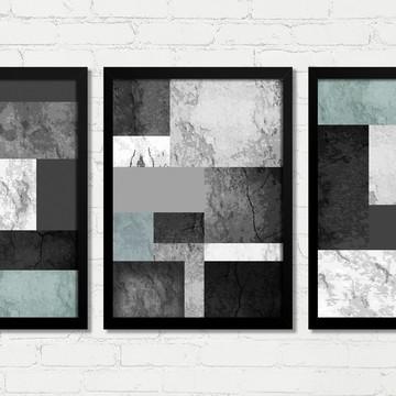 Quadros Abstrato Geométrico Concreto Verde Moldura Vidro B