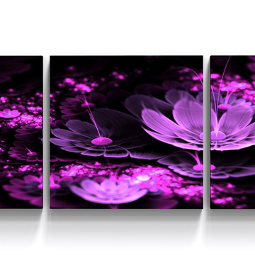 Conjunto 3 Quadros Flor Digital Roxo Moderno Sala TRI_0233