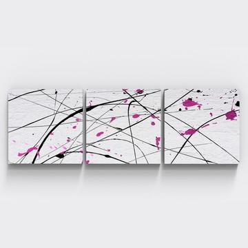 Conjunto 3 Quadros Pintura Rosa Tinta Sala Quarto TRI_0236