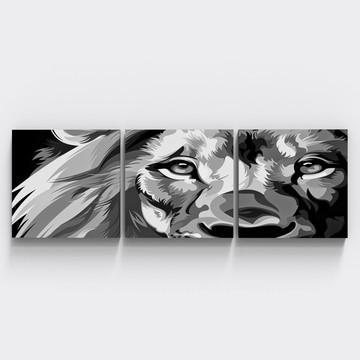 Conjunto 3 Quadros Leao Preto Branco Abstrato Sala Tri138