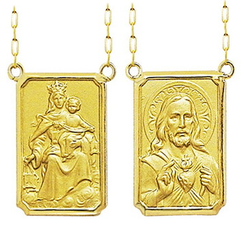 Escapulário ouro 18k N S e Sagrado Coração de Jesus