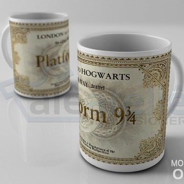 Caneca Harry Potter Plataforma 9 3/4 London to Hogwarts