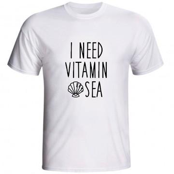 Camiseta I Need Vitamin Sea Eu Preciso De Vitamina C Mar