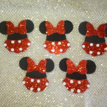 Aplique roupa Minnie Vermelha com gliter