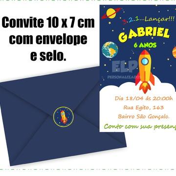 Convite Foguete com Envelope
