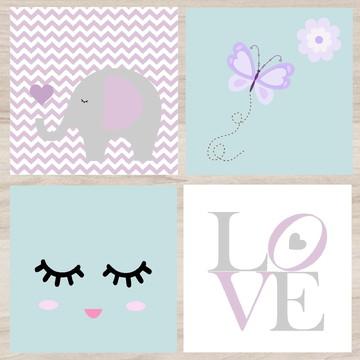 Placas Decorativas Bebe Elefantinho, Borboleta, Love, Cílios