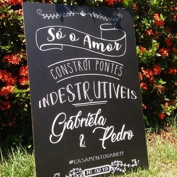 """Placa Chalkboard Casamento 60x40 """"Pontes indestrutíveis"""""""