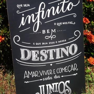 "Placa Chalkboard Casamento 60x40 ""Que seja infinito"""