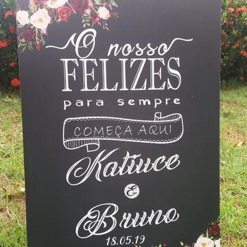 "Placa Chalkboard Casamento 60x40 ""Felizes para Sempre"""