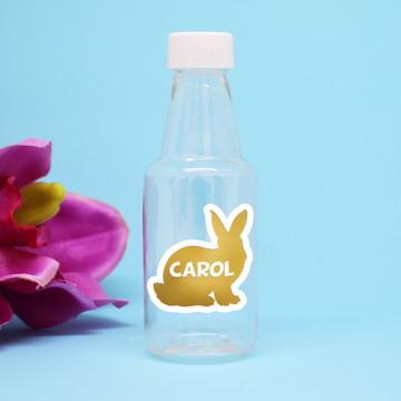 Garrafinha de plástico com texto- foil - coelho