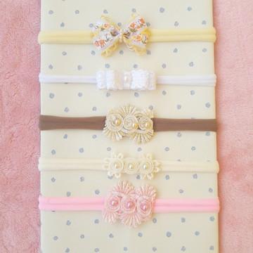 Kit de 5 Faixas Bebe Tiaras Laços Delicados Recem Nascido