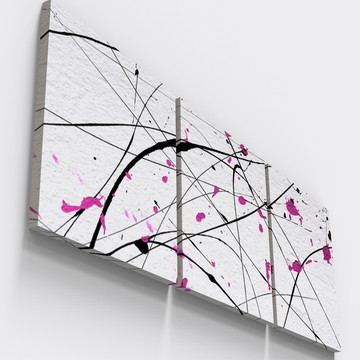 Quadros Decorativos Pintura Rosa Abstrato Sala TRI_0236