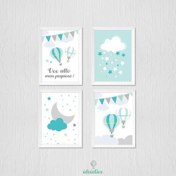 Quadro balões, nuvem, lua