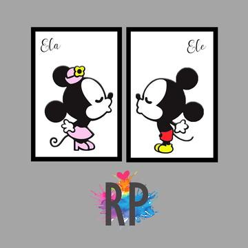 Kit 2 Placas Decorativas Quarto de Casal Mickey e MInnie