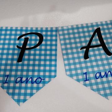 Varal Parabens + nome Pic nic quadriculada personalizada