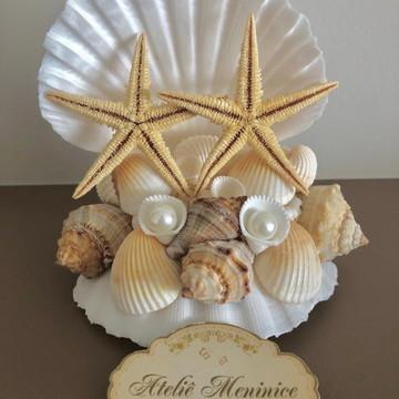 Topo de Bolo - Conchas, Pérolas e Estrelas do Mar