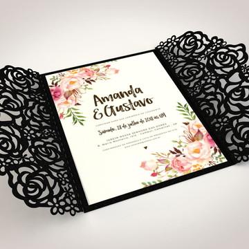Arquivo silhouette Convite para casamento Rosas