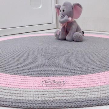 Tapete infantil cinza e rosa bebê