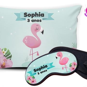 Kit Almofada e Mascara de Dormir Flamingo