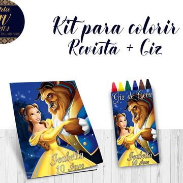 Kit para colorir A Bela e a Fera Revista giz de cera