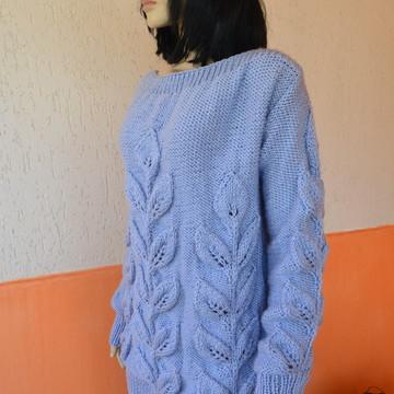 Blusa De Trico Oversize - azul