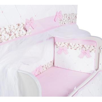 kit Mini Berço Menina Rosa Floral Personalizado
