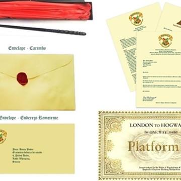 Kit com Varinha + Carta + Ticket Expresso de Hogwarts