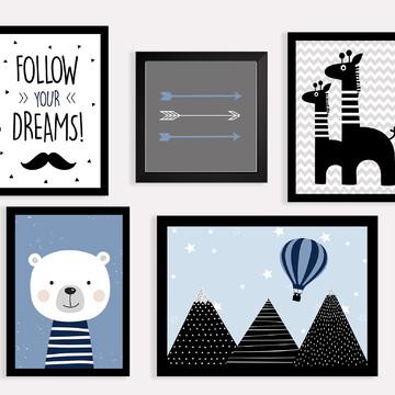 Quadros decoração menino escandinavo urso - A3