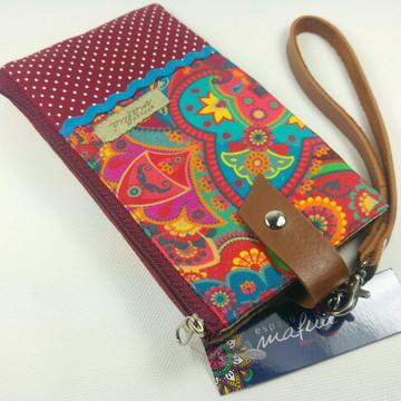 Porta Celular e Carteira em tecido DUO - Rainbow