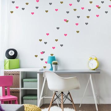 Adesivo corações rosa e cinza e dourado