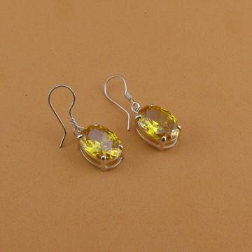 Brincos de prata zircônia citrino