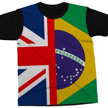 26e43fc32 Camiseta Bandeira Inglaterra Brasil País Blusa Camisa
