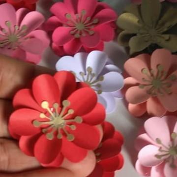 1 unid mini flores 4,5 cm papel monte vc mesma a decoração