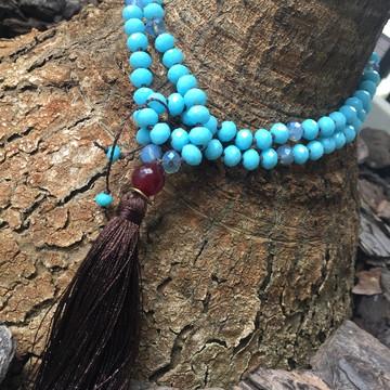 Japamala de Cristal Azul e Pedra Natural com Tassel Marrom