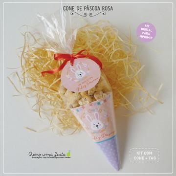 Cone de Páscoa Rosa - para imprimir