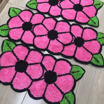 Tapetes de Frufru flores rosas 3 peças