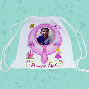 Saco Mochila Personalizado - Princesa (Com Nome e Foto)