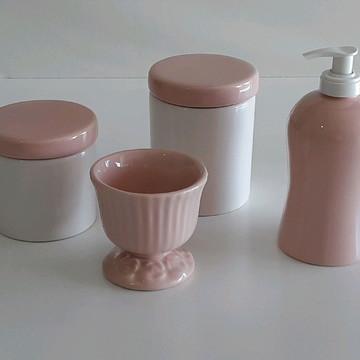 Kit higiene pote branco e rosa