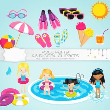 Cliparts Pool Party Cread 06
