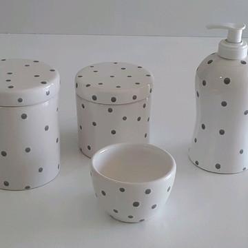Kit higiene pote branco e cinza