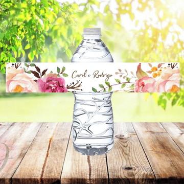 Rótulo Adesivo para Água Mineral Casamento Floral Rosé