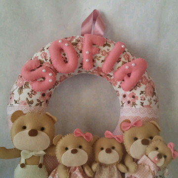 Enfeite Porta Maternidade familia Ursos Rosê