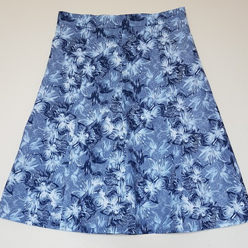 Saia Evasê 8 Panos Floral Azul Tamanho 44
